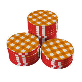Naranja de la tela escocesa 1 juego de fichas de póquer