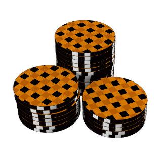 Naranja de la tela escocesa 1 fichas de póquer