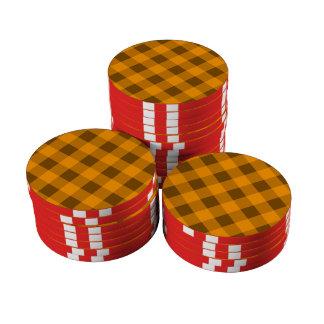 Naranja de la tela escocesa 2 juego de fichas de póquer