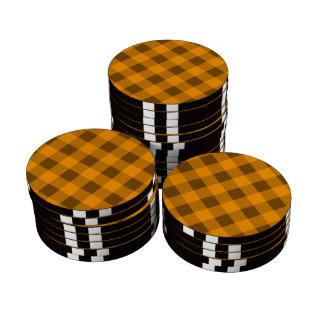 Naranja de la tela escocesa 2 fichas de póquer