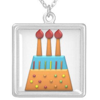 Naranja de la torta de cumpleaños del arco iris de colgante cuadrado