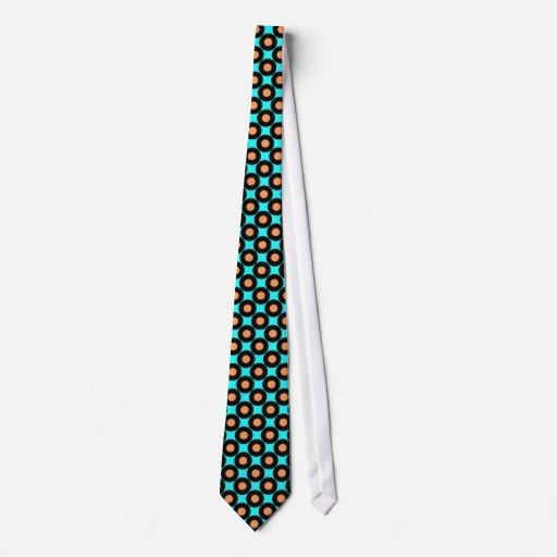 Naranja de la turquesa - lazo retro de los lunares corbatas personalizadas