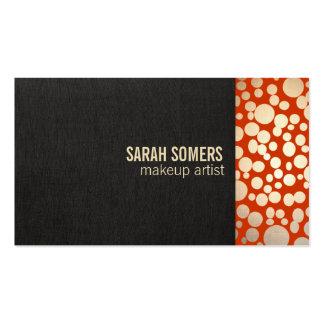 Naranja de lino de la mirada de la hoja de oro del tarjetas de visita