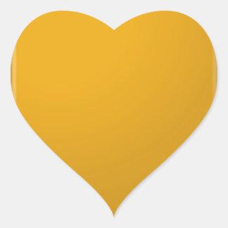 Naranja de oro llano de Brown Pegatina En Forma De Corazón