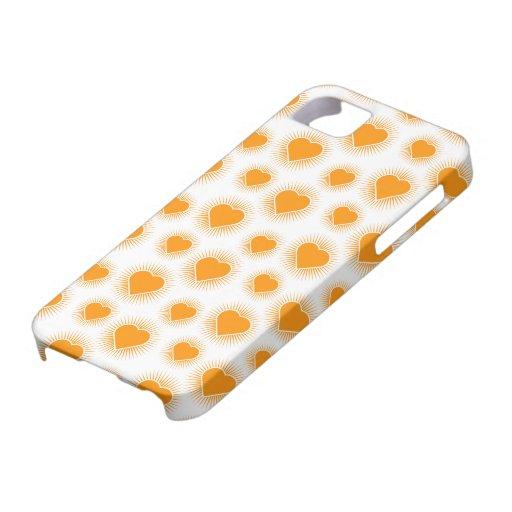 Naranja de Starburst 2 del corazón iPhone 5 Fundas