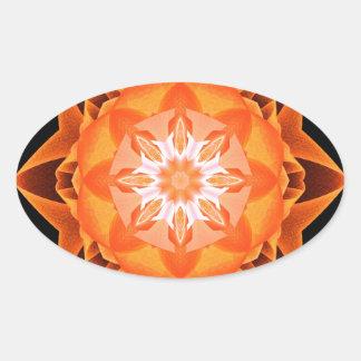 Naranja de Stardust del fractal Pegatina Ovalada