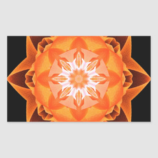 Naranja de Stardust del fractal Pegatina Rectangular