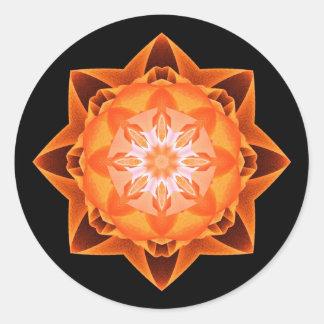 Naranja de Stardust del fractal Pegatina Redonda
