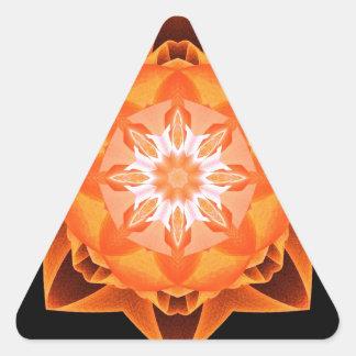 Naranja de Stardust del fractal Pegatina Triangular
