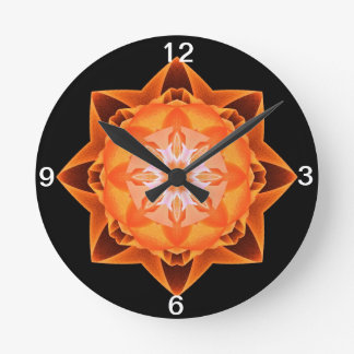 Naranja de Stardust del fractal Reloj Redondo Mediano