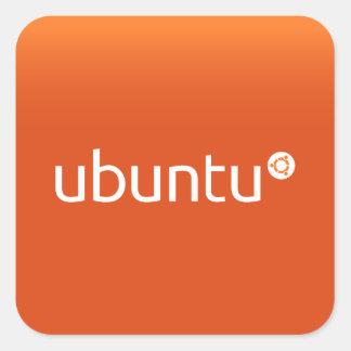 Naranja de Ubuntu grdiant Pegatina Cuadrada