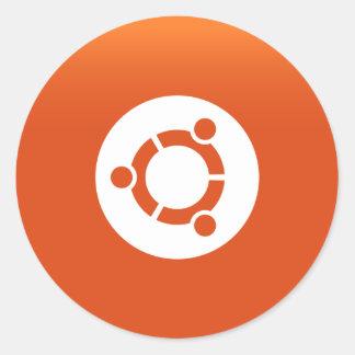 Naranja de Ubuntu grdiant Pegatina Redonda