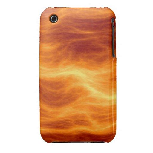 Naranja del agua ardiente y fondo rojos del amaril Case-Mate iPhone 3 carcasas