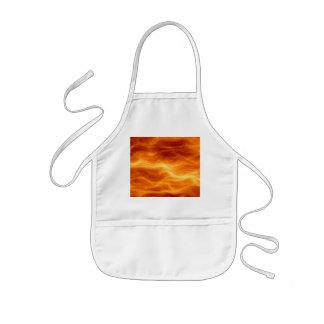 Naranja del agua ardiente y fondo rojos del delantal infantil