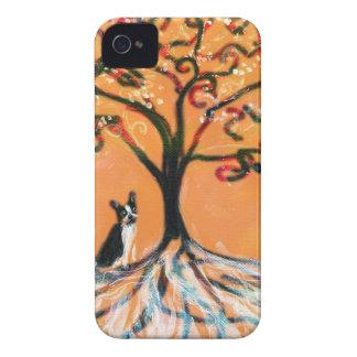 Naranja del árbol de Boston Terrier iPhone 4 Case-Mate Coberturas