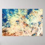 Naranja del árbol y fondo abstractos del azul posters