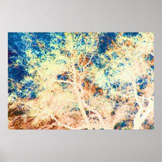 Naranja del árbol y fondo abstractos del azul póster
