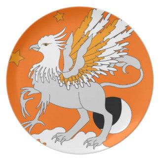 Naranja del arte de Gryphon Plato De Cena