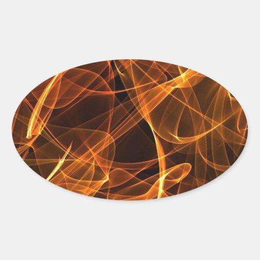 naranja del arte de la llama pegatina ovalada