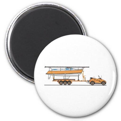 Naranja del barco de vela del coche de Eco Imanes Para Frigoríficos