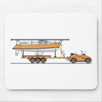 Naranja del barco de vela del coche de Eco Tapete De Ratones