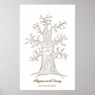 Naranja del boda del árbol de la huella dactilar posters
