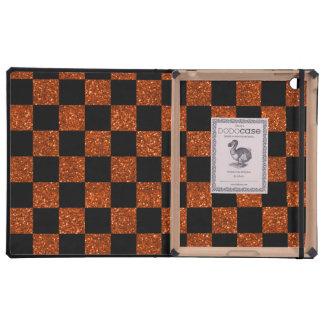 Naranja del brillo y modelo a cuadros negro iPad cárcasa