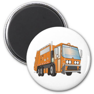 naranja del camión de basura 3d imán redondo 5 cm