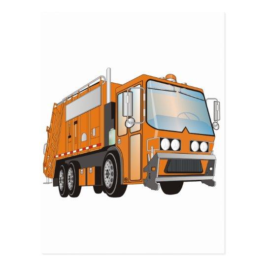naranja del camión de basura 3d tarjetas postales