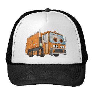 Naranja del camión de basura del dibujo animado gorros bordados