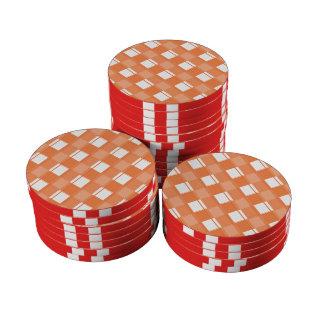 Naranja del Celosia de la tela escocesa 3 Fichas De Póquer