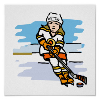 Naranja del chica del hockey posters