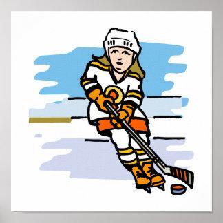 Naranja del chica del hockey póster