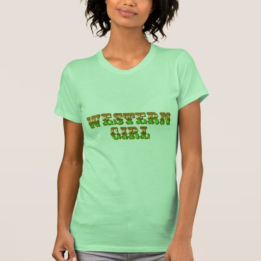 Naranja del chica y vaquera occidentales del oeste playeras