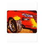 Naranja del coche de carreras postales