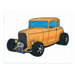 Naranja del coche de carreras tarjeta postal