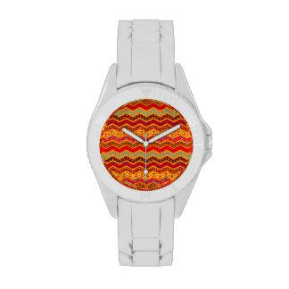 Naranja del color de los diseños geométricos de Ch Relojes