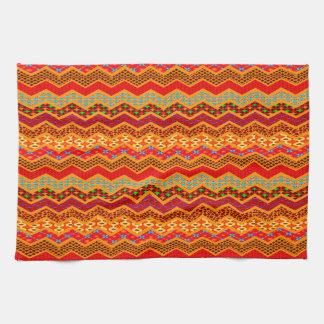 Naranja del color de los diseños geométricos de toalla de cocina