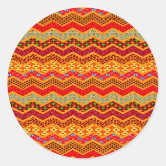 Naranja del color de los diseños geométricos de pegatinas redondas