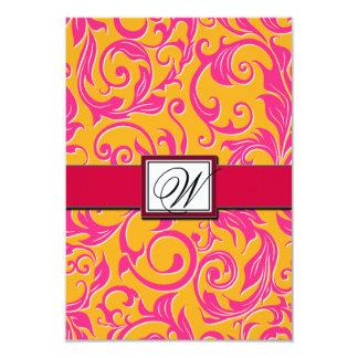Naranja del damasco del monograma y tarjetas invitación 8,9 x 12,7 cm