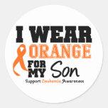 Naranja del desgaste de la leucemia I para mi hijo Pegatina Redonda