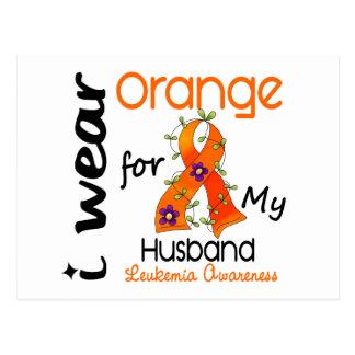 Naranja del desgaste de la leucemia I para mi mari Postales