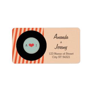 Naranja del disco de vinilo/azul de cielo retros etiquetas de dirección
