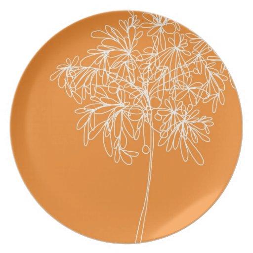 Naranja del estallido del flor - placa platos para fiestas