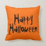 Naranja del feliz Halloween y almohada del negro