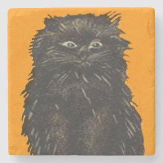 Naranja del gato negro posavasos de piedra