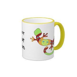 naranja del gecko del estallido taza de café