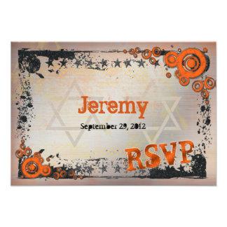 Naranja del Grunge negro tarjeta de Mitzvah RSVP Invitación