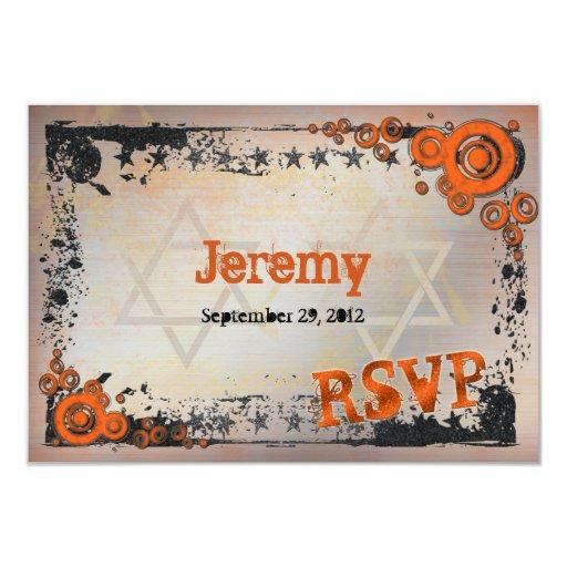 """Naranja del Grunge, negro, tarjeta de Mitzvah RSVP Invitación 3.5"""" X 5"""""""