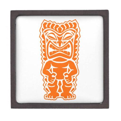 naranja del guerrero del tótem del tiki cajas de joyas de calidad